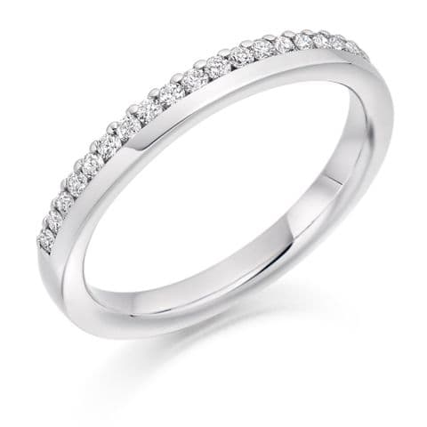 0.22cts skinny offset wedding rings