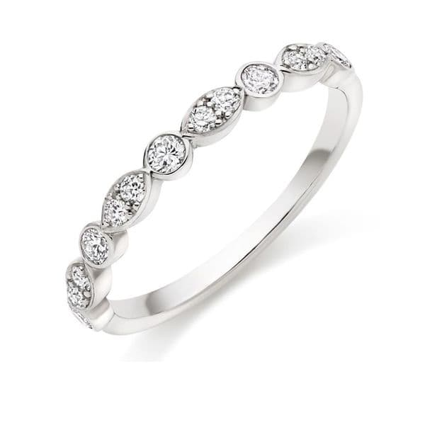 0.35cts Marquise and Round Brilliant Cut Diamond Half Eternity Ring