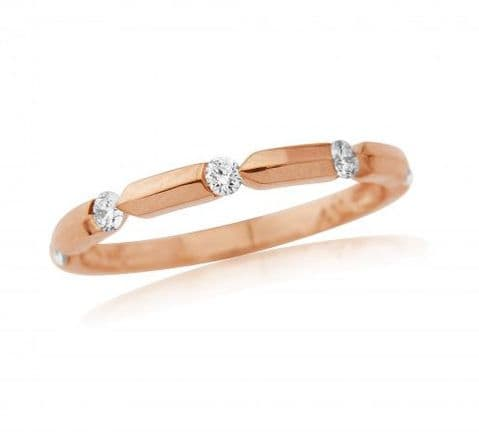 18ct Rose Gold Diamond Notch Ring
