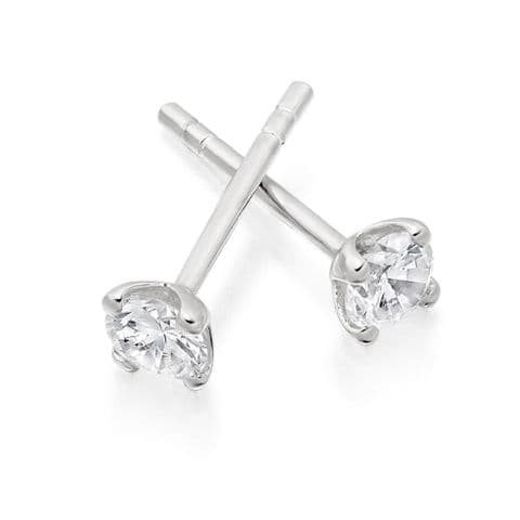 18ct White Gold and Brilliant Cut Diamond Stud Earrings