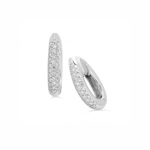 18ct White Gold and Diamond Hinged Oval Earrings
