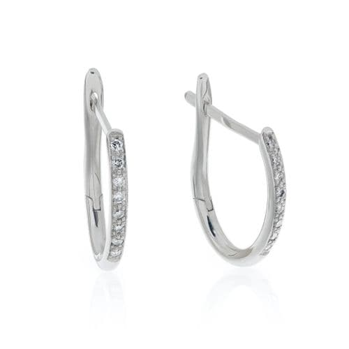 18ct White Gold and Diamond Hoop Earrings