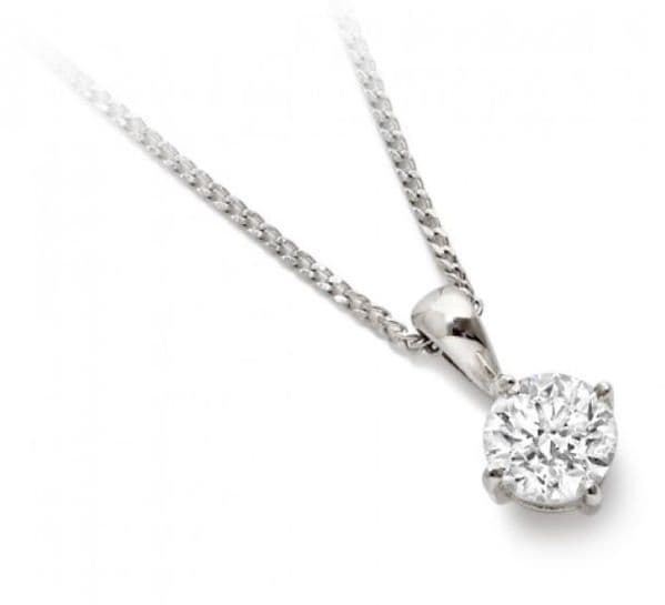 18ct White Gold and Diamond Solitaire Pendant