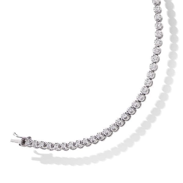 18ct White Gold and Diamond Tennis Bracelet Claw Setting