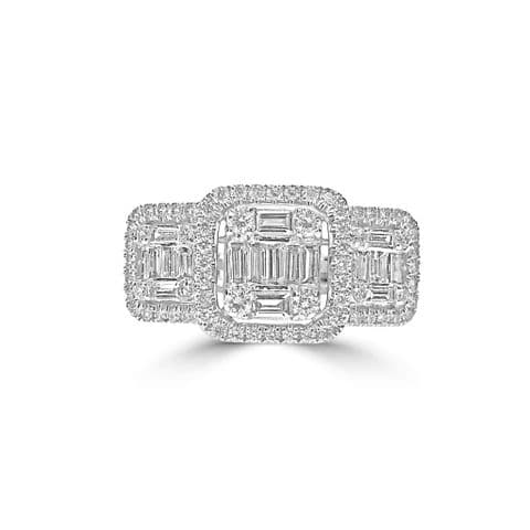18ct White Gold and Diamond Trilogy Ring