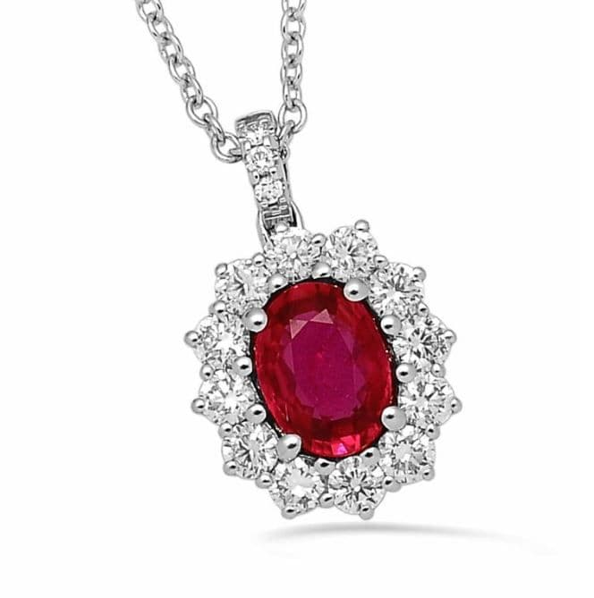 18ct White Gold, Ruby and Diamond Pendant