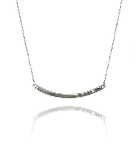 9ct Gold and Diamond Curved Bar Necklace