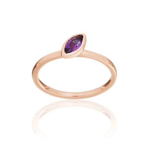 9ct Rose Gold and Amethyst Stacking Ring