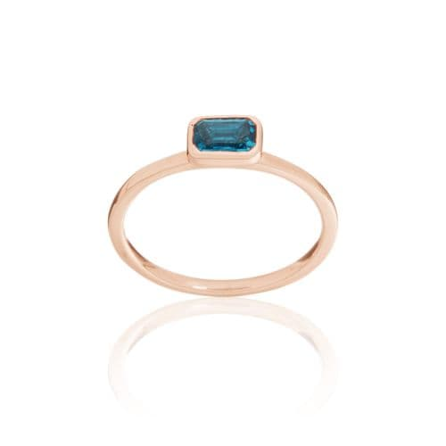 9ct Rose Gold and London Blue Topaz Stacking Ring