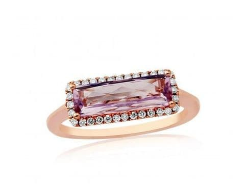 9ct Rose Gold Diamond & Amethyst Cushion Pendant Ring