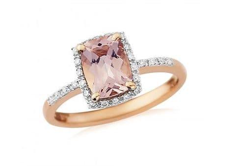 9ct Rose Gold, Diamond and Morganite Dress Ring
