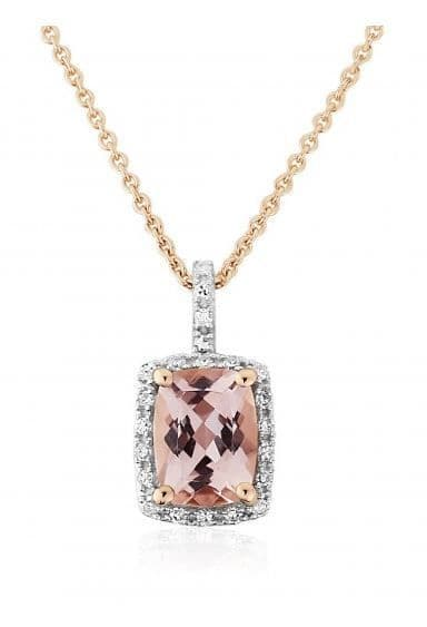 9ct Rose Gold Morganite And Diamond Necklace