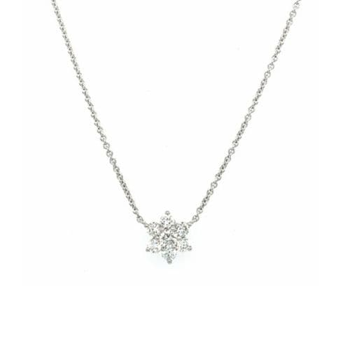 9ct White Gold and Diamond Flower Necklace