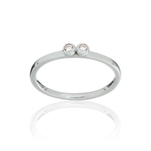 9ct White Gold and Diamond Stacking Ring
