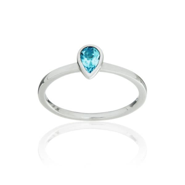 9ct White Gold and Swiss Topaz Stacking Ring