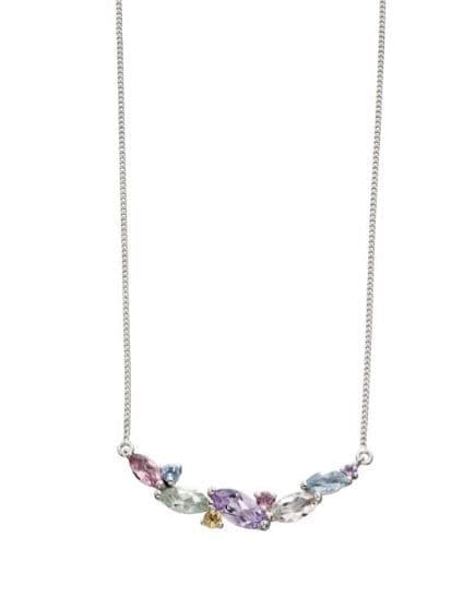 9ct White Gold Mix Stone Necklace