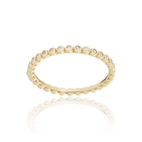 9ct Yellow Gold and Diamond Stacking Ring