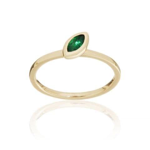 9ct Yellow Gold and Emerald Stacking Ring