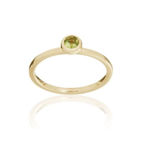 9ct Yellow Gold and Peridot Stacking Ring