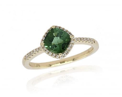9ct Yellow Gold Diamond & Tourmaline Ring