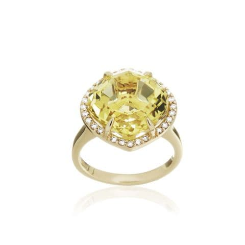 9ct Yellow Gold, Lemon Quartz and Diamond Cocktail Ring