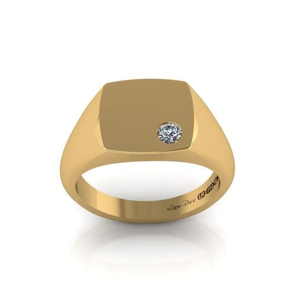 Cushion and diamond set yellow gold signet ring