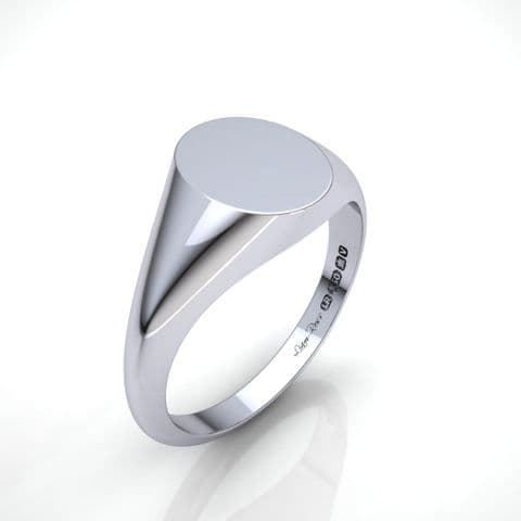 Ladies oval white gold signet ring