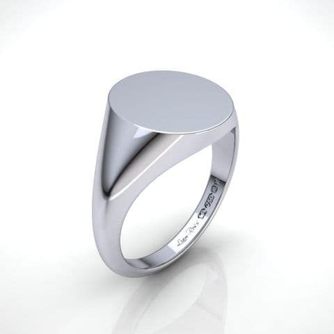 Large Oval white gold signet ring
