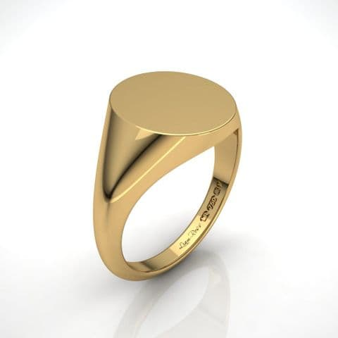 Large Oval yellow gold signet ring