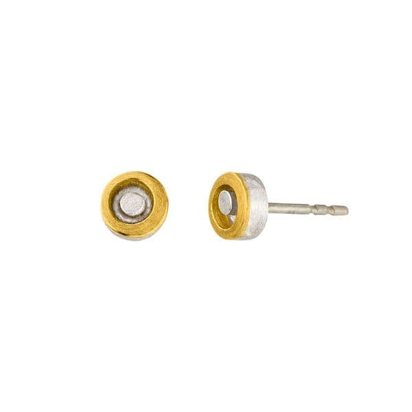 MANU 22ct Yellow Gold and Silver Small Stud Earrings