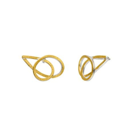 Manu 22ct Yellow Gold and Silver Stud Earrings