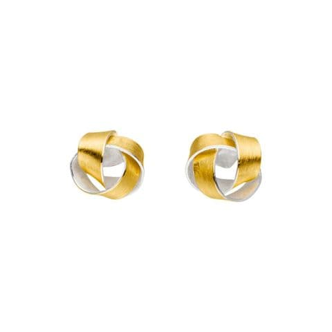 MANU 22ct Yellow Gold ans Silver Knot Stud Earrings