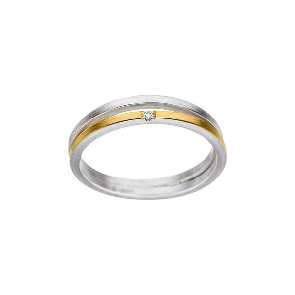 Manu 22ct Yellow Gold, Silver and Diamond Double Band Dress Ring