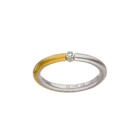 Manu 22ct Yellow Gold, Silver and Diamond Dress Ring