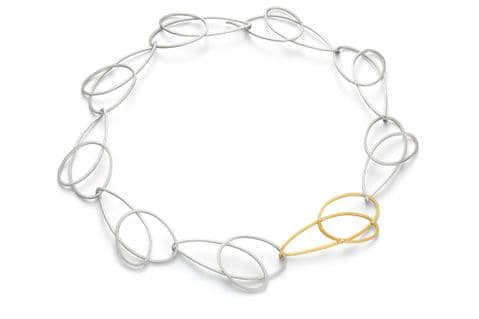 Manu Sterling Silver and 22ct Yellow Gold Collar Necklace