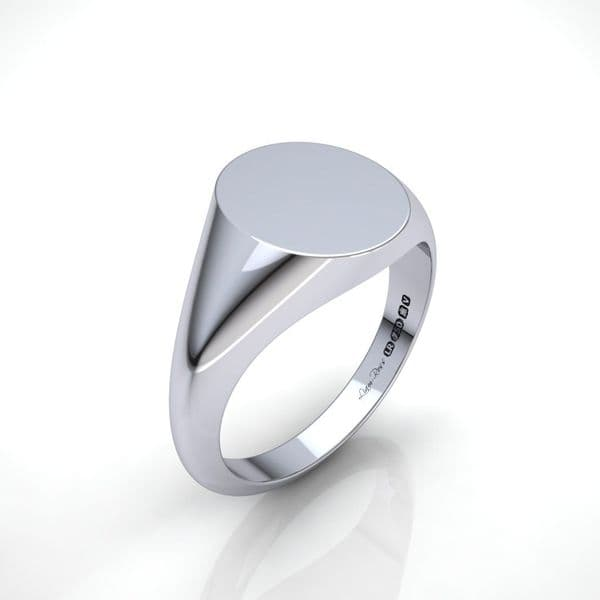 Mens Oval white gold signet ring