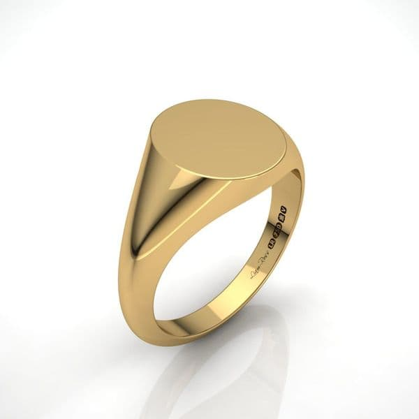 Mens oval yellow gold signet ring