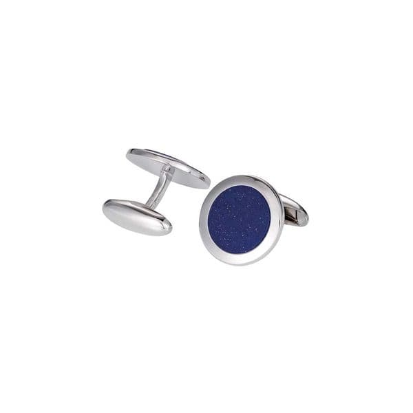 Mens Sterling Silver and Lapis Cufflinks