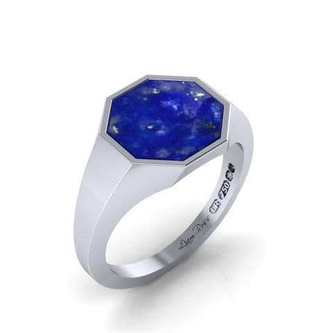 Octagon head white and blue  signet ring