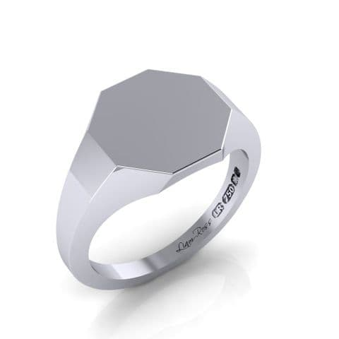 Octagon head white gold signet ring
