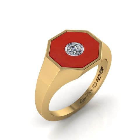 Octagon red and diamond signet ring