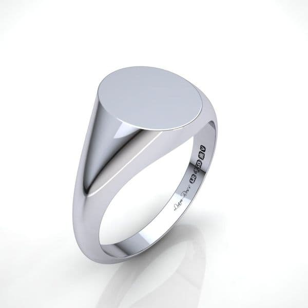 Oval platinum signet ring
