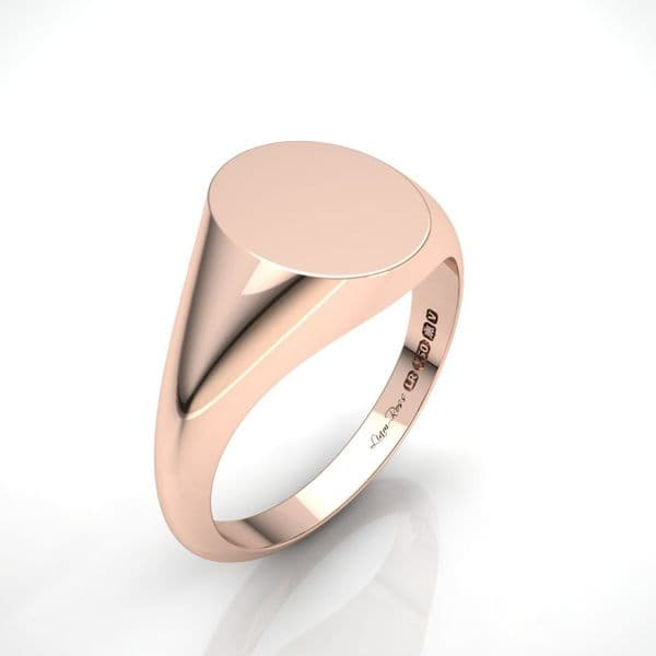 Oval rose gold signet ring