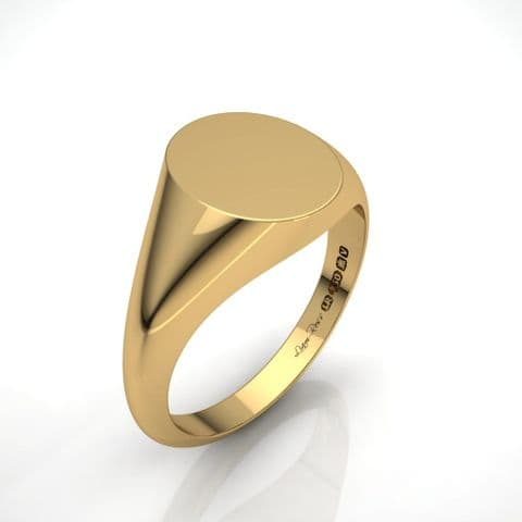 Oval yellow gold signet ring