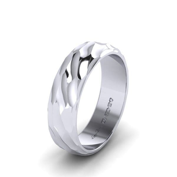 Scallop Roll Textured wedding ring