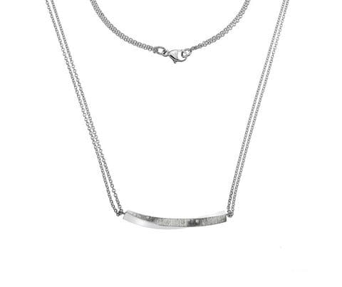 Silver Textured Twisted Bar Pendant with Cubic Zirconia