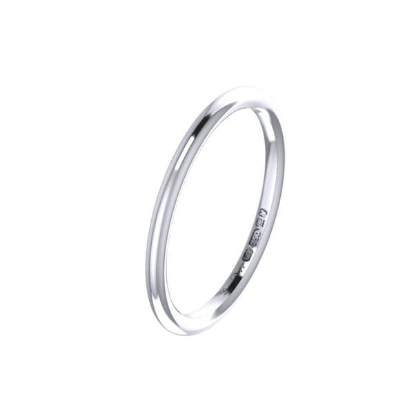 Skinny Platinum court wedding ring
