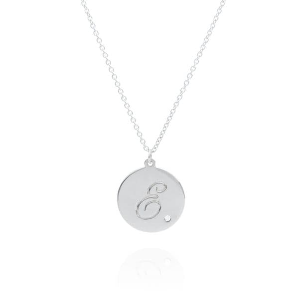 Small 9ct White Gold and Diamond Engraved Disc Necklace