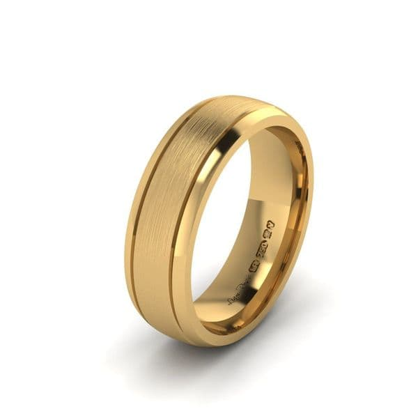 Two engraved lines Yellow gold Wedding Ring