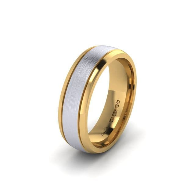 Two Tone Wedding Ring  with double engraved lines